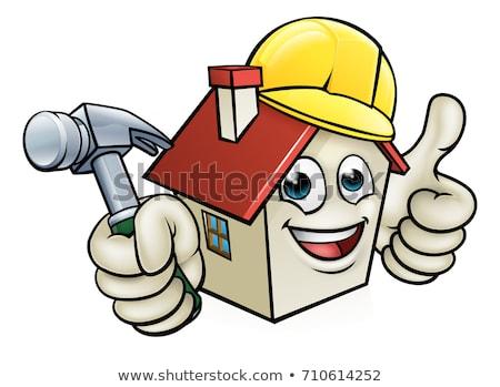 家 漫画のマスコット 文字 着用 ヘルメット 建設現場 ストックフォト © Krisdog