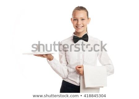 портрет официантка лоток Кубок улыбаясь Сток-фото © julenochek