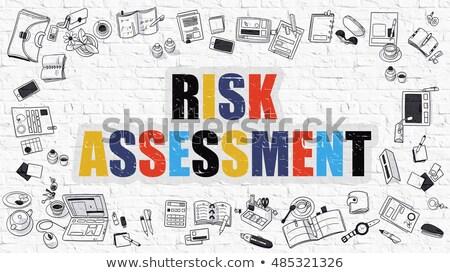 risk assessment concept multicolor on white brickwall stock photo © tashatuvango
