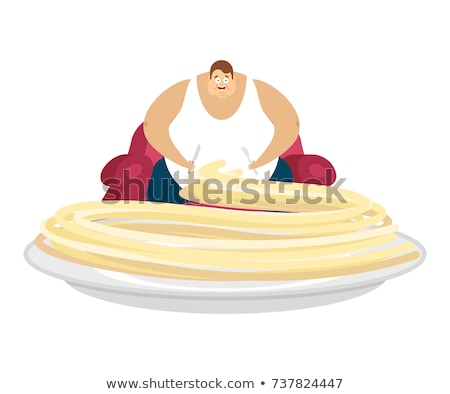 Fat guy is sitting on chair and pasta. Glutton Thick man and foo Stock photo © popaukropa
