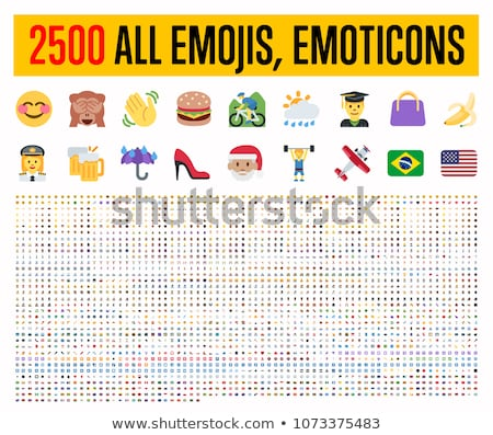 Foto stock: Conjunto · emoticon · faces · ícones · amarelo