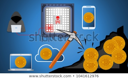 Cryptojacking concept, Computer hacker and Bitcoin cryptocurrenc Stock photo © stevanovicigor