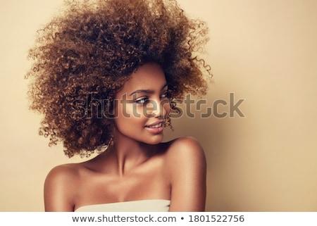 Stok fotoğraf: Güzel · genç · kadın · karanlık · makyaj · saç · göz · makyajı