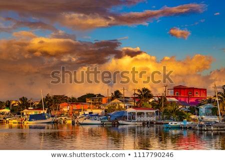 Belize légifelvétel város boldog zöld kék Stock fotó © wollertz