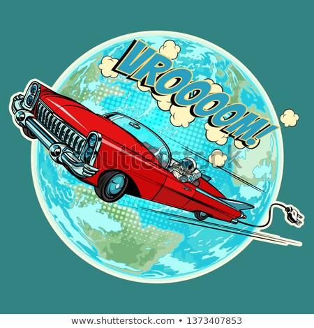 astronaute · voiture · électrique · planète · terre · pop · art · rétro · dessinées - photo stock © studiostoks