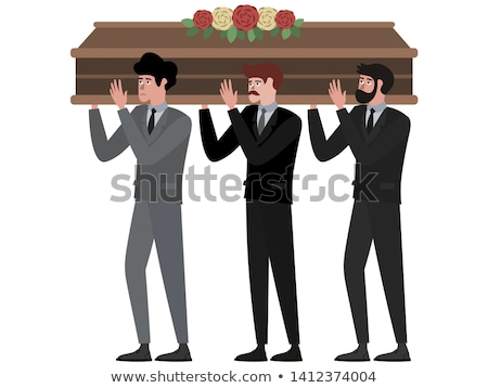 coffin and dead man. wooden coffin set. Vector illustration Stock photo © MaryValery
