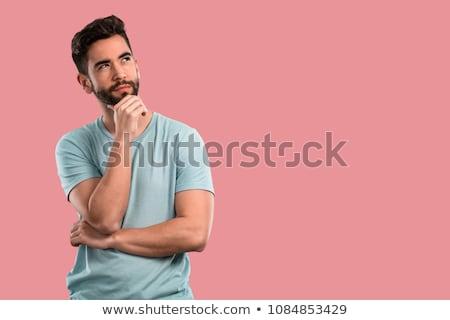 poważny · człowiek · patrząc · w · dół · myślenia · atrakcyjny · sam - zdjęcia stock © is2