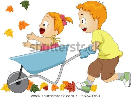 Meninas corrida carrinho de mão menina natureza diversão Foto stock © IS2