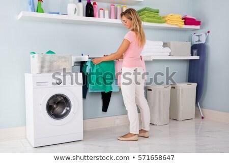 wasserij · wasknijper · vrouw · gelukkig · home · jonge - stockfoto © is2