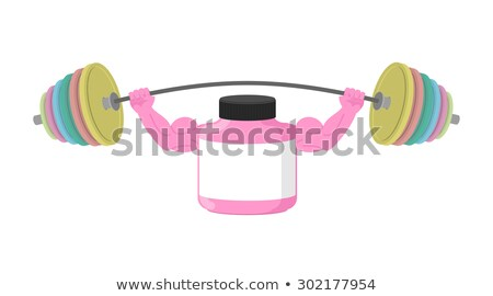 Sports nutrition container with large muscles. Keeps barbell. Hu Stock photo © popaukropa