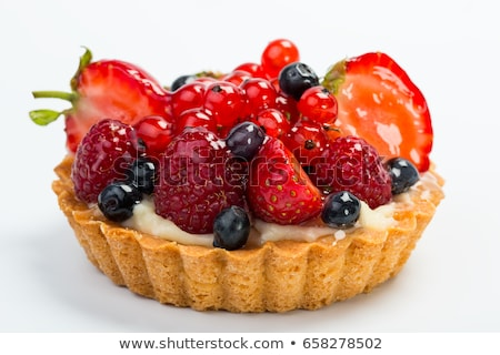 frutas · tarta · natillas · blanco · placa - foto stock © m-studio