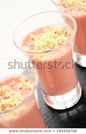 Kicsi csokoládé hab málna üveg házi készítésű étcsokoládé Stock fotó © mpessaris