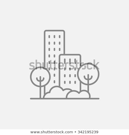 Mieszkaniowy budynku drzew line ikona internetowych Zdjęcia stock © kyryloff