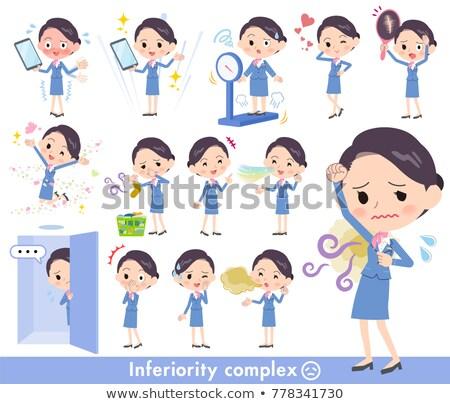 cabina · azul · mujer · pelo · comunicación · presentación - foto stock © toyotoyo