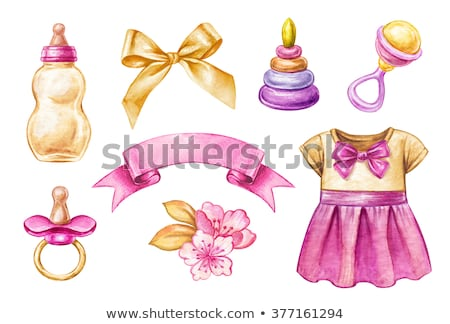 Baby Girl in Pink Ribbon with Pacifier and Toys Stock photo © robuart