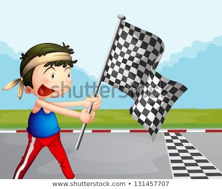 Rajz férfi tart kockás zászló illusztráció Stock fotó © bennerdesign