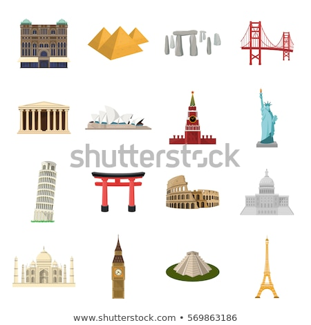 Eiffel Tower and Capitol Set Vector Illustration Stock photo © robuart
