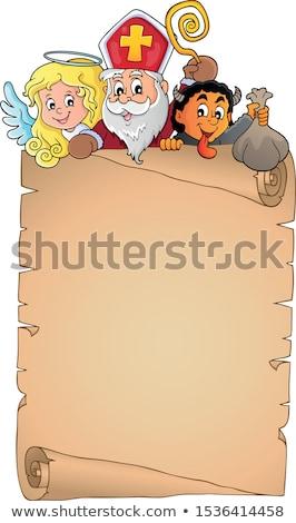 Saint Nicholas topic parchment 1 Stock photo © clairev