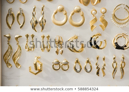 Jewelry Set Golden Necklace and Earrings on Black Stock photo © robuart
