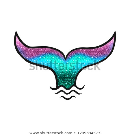 waves of the sea and the mermaid tail isolated on white background vector cartoon close up illustra stock photo © lady-luck