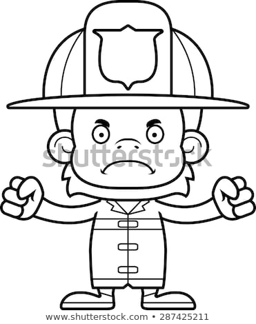 Cartoon Angry Firefighter Orangutan Stock photo © cthoman