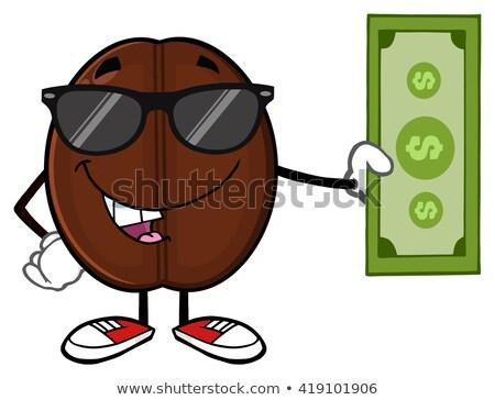 Ziarna kawy maskotka cartoon charakter Dolar ustawy Zdjęcia stock © hittoon