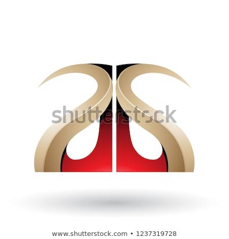 Beige rouge lettres vecteur isolé Photo stock © cidepix
