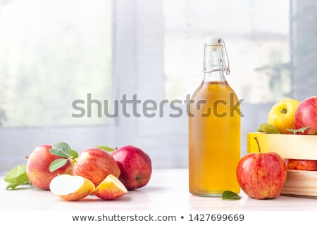 Foto stock: Manzana · sidra · vinagre · botella · orgánico · vidrio
