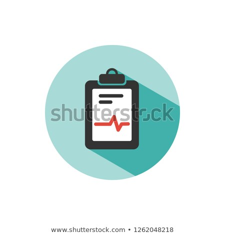 Medical chart icon on a green circle. Cardiogram report. Heart graph Stock photo © Imaagio