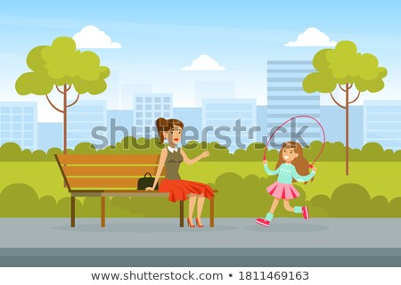 family parents with kid in park vector illustration stock photo © robuart