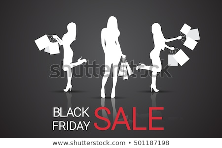 shopping women poster with ladies at store vector stock photo © robuart