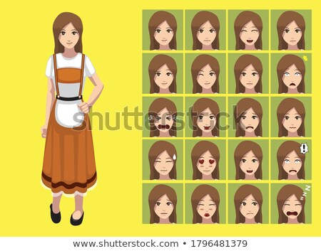 Böse Karikatur Lederhosen Mädchen Illustration schauen Stock foto © cthoman