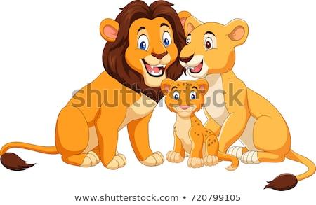 Cartoon gelukkig welp illustratie baby leeuw Stockfoto © cthoman
