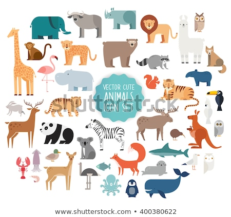 set of polar animals icons isolated on white background stock photo © marysan