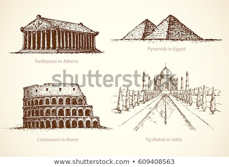 Egypte piramides schets doodle icon Stockfoto © RAStudio