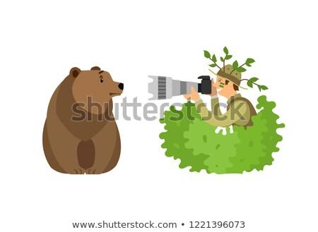 Fotós rejtőzködik bokrok elvesz fotó medve Stock fotó © robuart