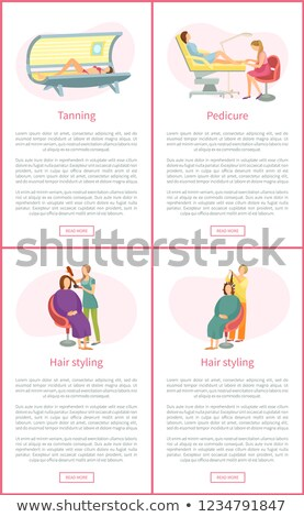 tanning tan in solarium pedicurist posters vector stock photo © robuart