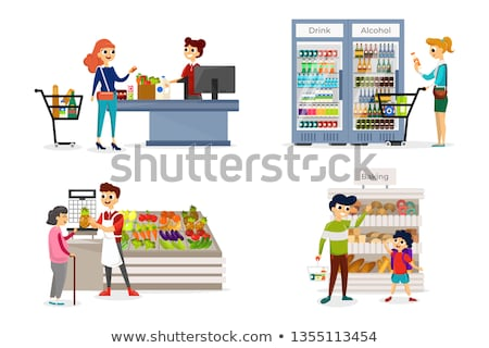 Supermarket Bakery and Fruits Department Vector Stock photo © robuart