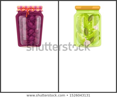 preserved food banners set with plum and cucumber stock photo © robuart