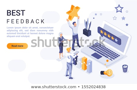 Stock photo: Isometric vector landing page template of business excellence.