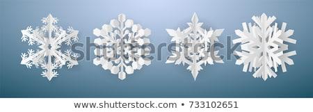 Stock foto: Weihnachten · Papier · geschnitten · vier · weiß · Schneeflocken