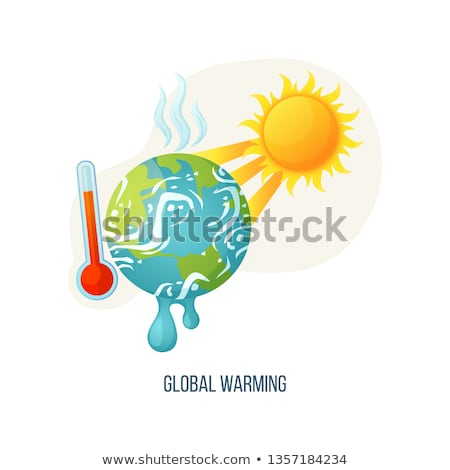 Photo stock: Global Warming Earth with Sunshine and Thermometer