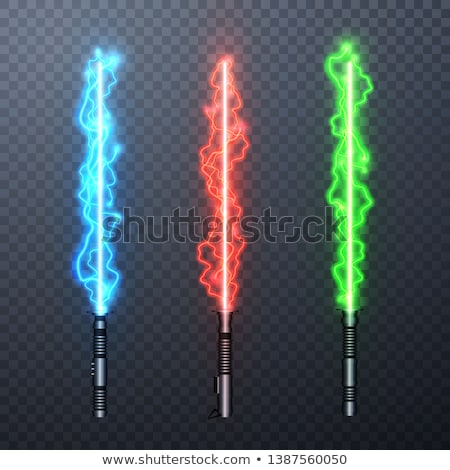 set of three realistic light swords isolated on transparent background vector illustration stock photo © olehsvetiukha