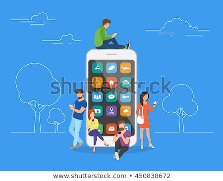 Ekran bağımlılık küçücük iş adamları izlerken dijital Stok fotoğraf © RAStudio