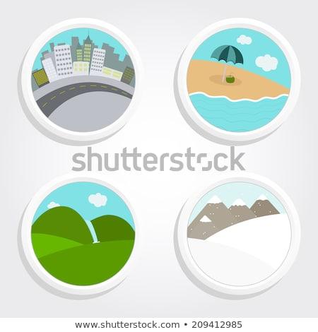 Establecer playa diferente clima ilustración sol Foto stock © bluering