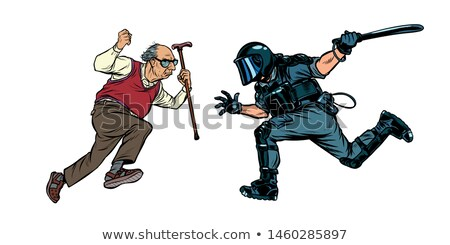 pensioners against the police riot police with a baton stock photo © studiostoks