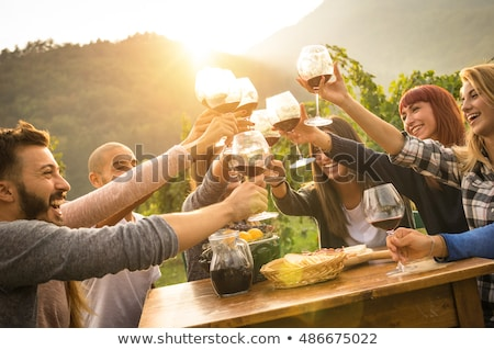 Zdjęcia stock: Young People By The Table In The Vineyard