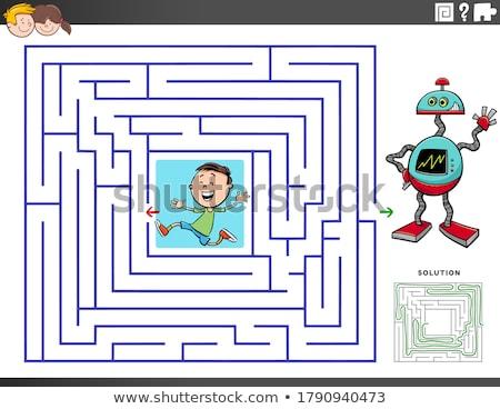 maze game with cartoon boy and toy robot Stock photo © izakowski