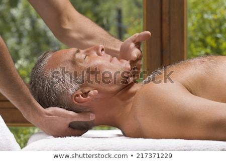 volwassen · man · hoofdhuid · massage · meisje · handen · achtergrond - stockfoto © andreypopov