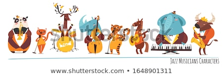 animals playing music   flat design style illustration stock photo © decorwithme